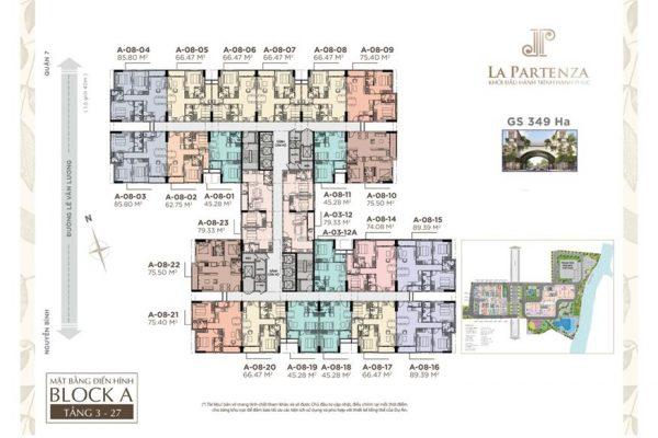 mặt bằng tầng Block A Dự án căn hộ La Partenza
