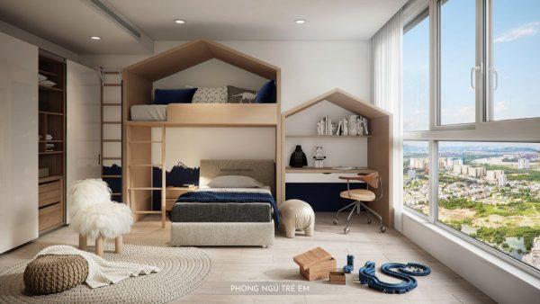 phòng ngủ nhỏ căn hộ mẫu happy one thạnh lộc quận 12